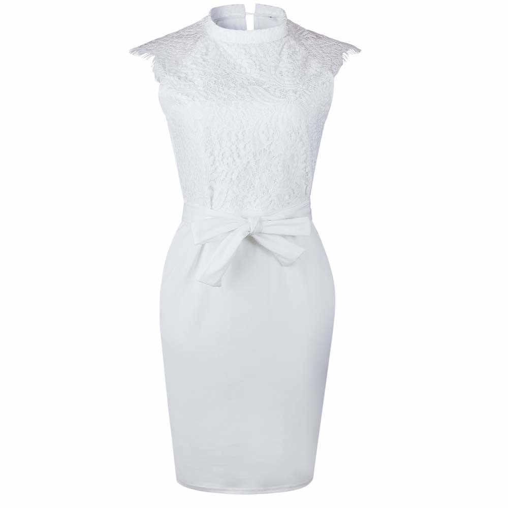 JAYCOSIN blanc robe 2019 femmes princesse ceinture sans manches Sexy moulante robe élégante Skinny Floral motif dentelle robes Vestido