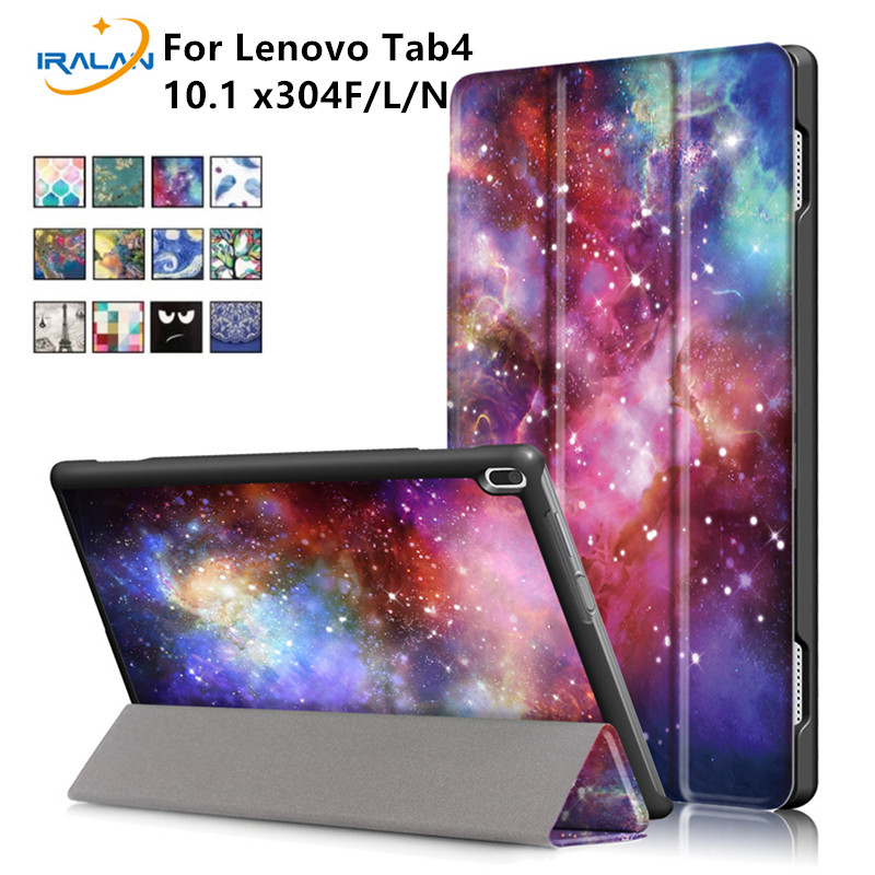 2018 New Slim Smart Stand Case For Lenovo TAB4 Tab 4 10 X304L TB-X304F TB-X304N 10.0 inch Print Folio PU Leather Cover+pen+film