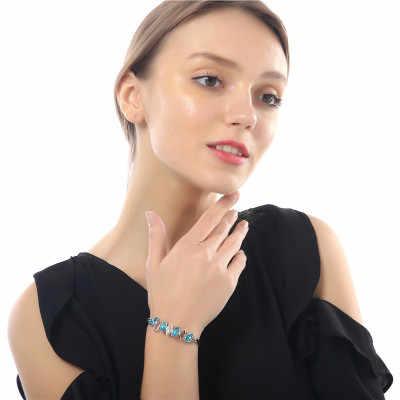 חדש אופנה צבעוני קריסטל צמיד גאות כסף צמיד קריסטל ריינסטון תכשיטי גבוהה עם נקבה מתנת יום הולדת