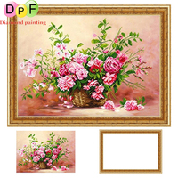 DPF Framed Diamond Embroidery Round Diamond Painting Diamond Cross Stitch Rhinestone Home Decoration Painting Pink Flower