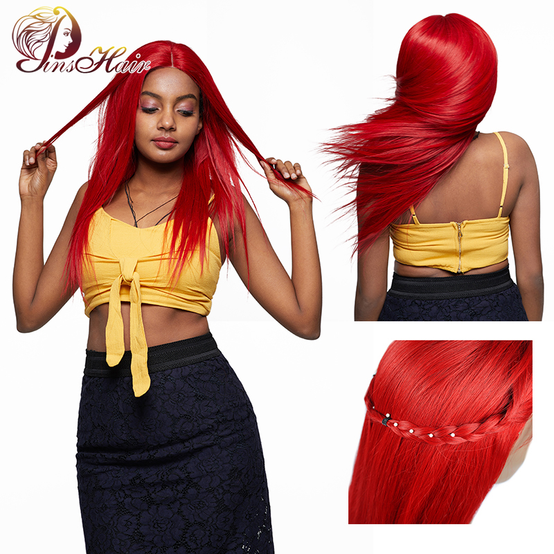 Pinsahir Red Lace Front Human Hair Wigs With 4 4 Closure Straight Hair Wigs 99J Burgundy
