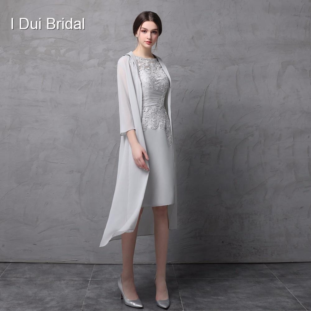 knielangen zweiteilige mutter der braut kleid mit chiffon jacke  hochzeitsgast kleid formal wear