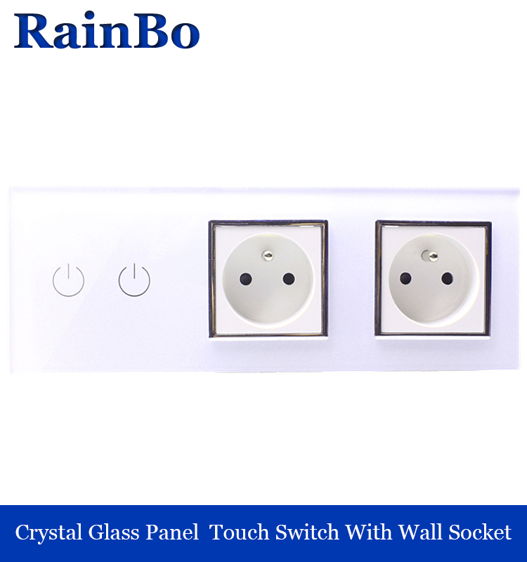 rainbo Crystal Glass Panel France power socket EU touch  Socket control Screen Wall Light Switch 2gang1way white A39218F8FW smart home us black 1 gang touch switch screen wireless remote control wall light touch switch control with crystal glass panel