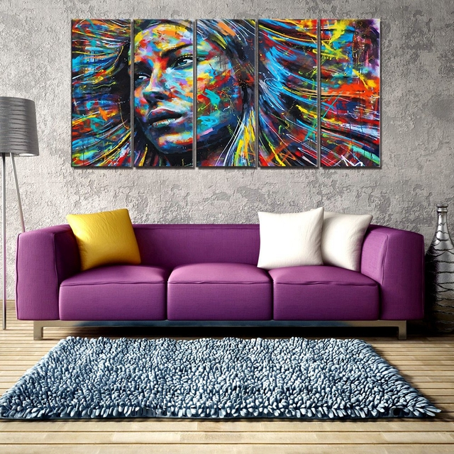 Abstract Painting Wall Art Canvas Woman Face Indian Girl Poster