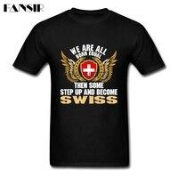 Hommes T Shirt Nouveauté Blanc À Manches Courtes T-shirts Personnalisés Hommes de Certains Step Up Et Devenir Suisse Suisse Drapeau Famille vêtements