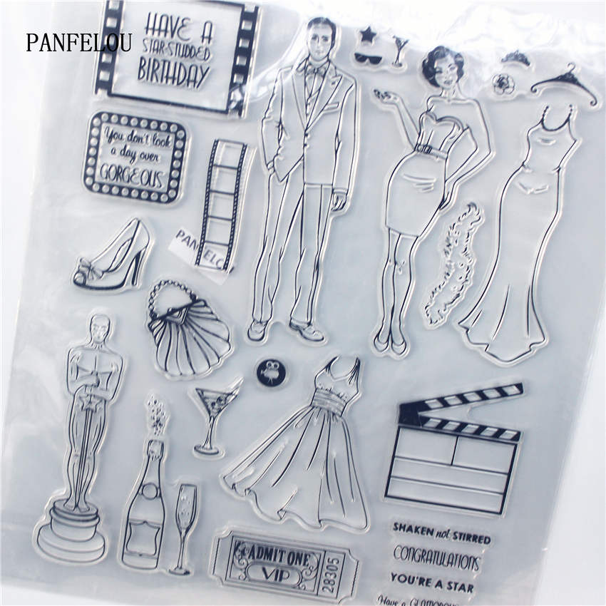 PANFELOU Party model Transparent Clear Silicone Stamp/Seal DIY scrapbooking/photo album Decorative clear stamp sheets lovely animals and ballon design transparent clear silicone stamp for diy scrapbooking photo album clear stamp cl 278
