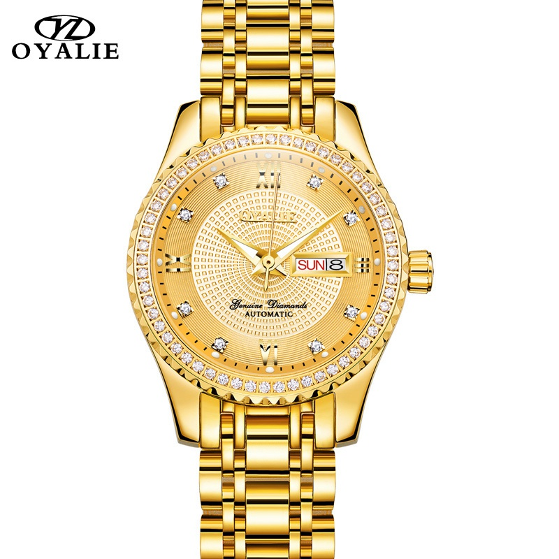 Womens Gold Watches OYALIE Brand Automatic Mechanical Watch Stainless Steel Ladies Sapphire Crystal Mirror Diamond WristwatchWomens Gold Watches OYALIE Brand Automatic Mechanical Watch Stainless Steel Ladies Sapphire Crystal Mirror Diamond Wristwatch