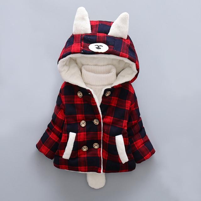 Abrigo de invierno para niños de explosión párrafo niñas ropa de bebé de  algodón a cuadros 9308ad2a6eda