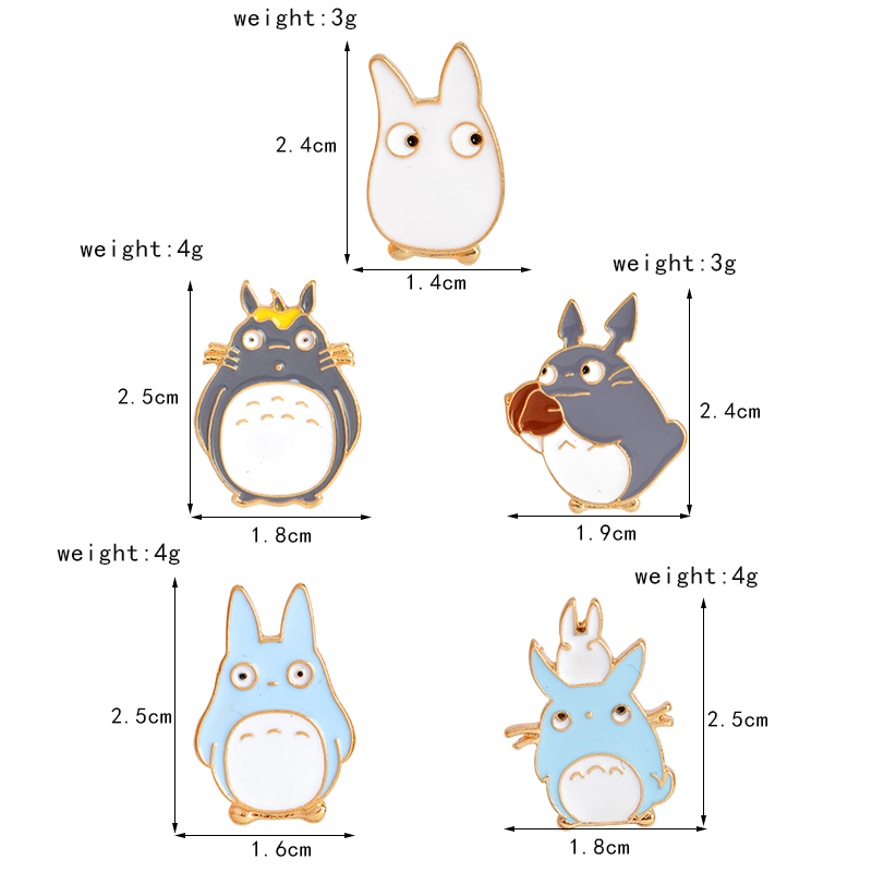 5pcs/set Japan Anime TOTORO Enamel Pins and Brooches Childrens Clothing Badge Corsage My Neighbor Totoro Jewelry 4