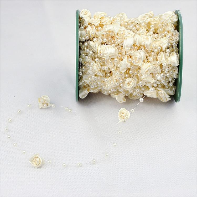 30M 12mm&4mm Rose Flower Pearl Bead Garland Hair Stying Wedding Decoration Craft DIY