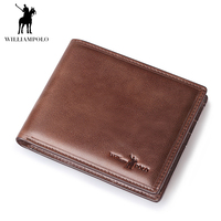 WilliamPOLO Fashion 2018 Men Wallet Genuine Leather Casual Short Male Wallet Purse Standard Card Holders Coin Pocket Wallets