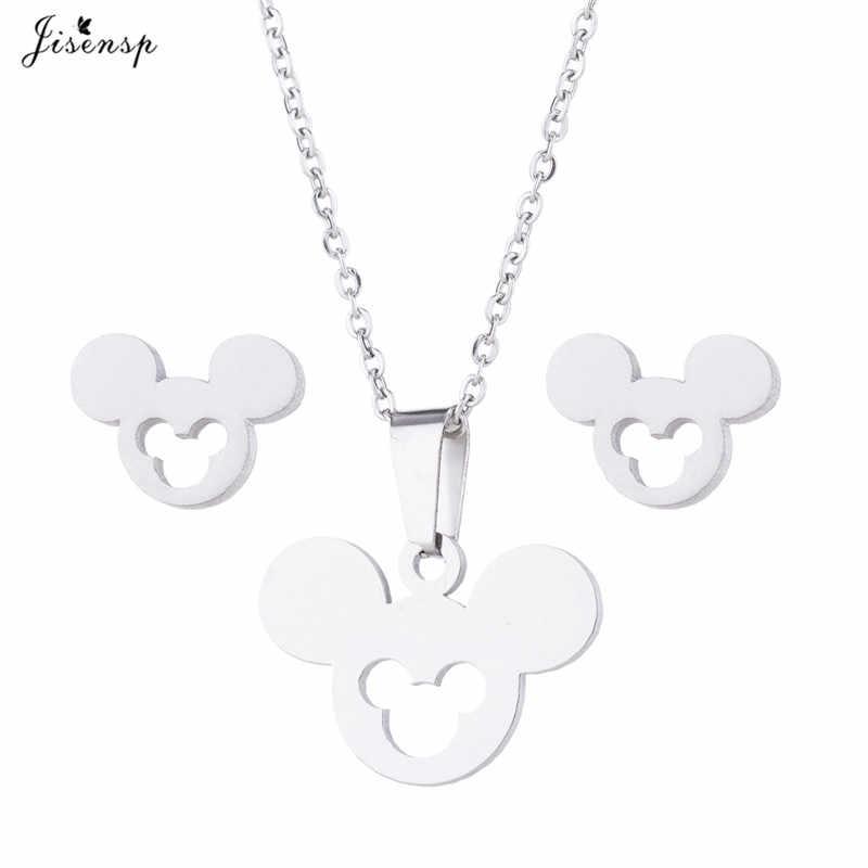 Jisensp น่ารัก Mickey Minnie ต่างหูสำหรับเด็กผู้หญิงสัตว์ Mouse Gold สร้อยคอและจี้เครื่องประดับชุดสาวคริสต์มาสของขวัญ Bijoux