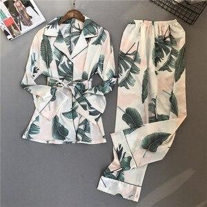 Image 5 - ZOOLIM jesień kobiety jedwabna piżama zestawy satynowa piżama moda bielizna nocna dwa kawałki + pas kobieta Homewear drukuj Sleep Lounge