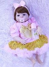 Bebe muñecas reborn y hermoso vestido de princesa rosa para niñas Bonecas bebé muñecas juguetes de silicona inteiro realista 55 cm l o l