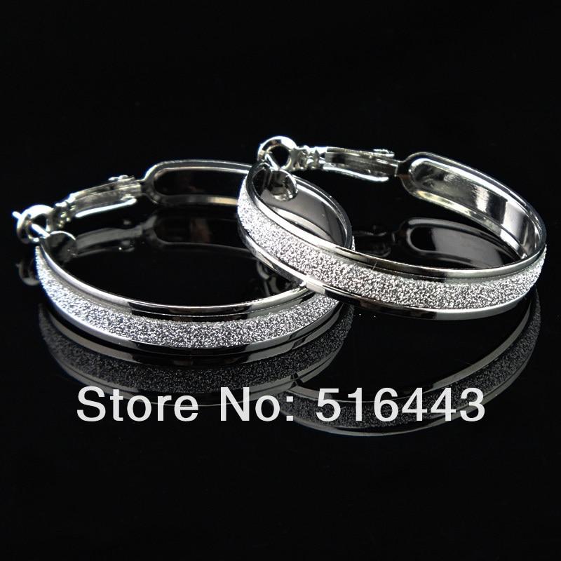 Новое поступление шармы 6 пар модные серебряные P матовые серьги-кольца для женщин бижутерия оптом A-646