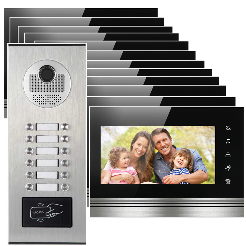 12 apartments placa de video door phone intercom RFID Door access control system with 7 inch LCD display rfid keyboard ip65 waterproof video doorphone intercom system for 3 apartments with 7 color lcd video intercom system in stock