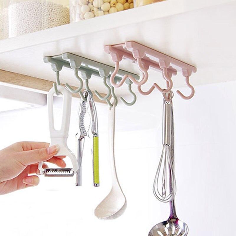 NEW arrive Storage Shelf Seamless Sticky Organizer Tools 6 Hooks Towels Hanger Adjustable Wardrobe Kitchen Cupboard