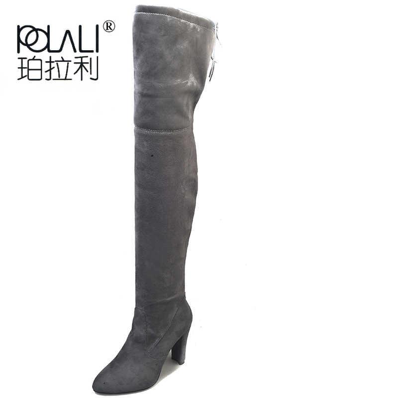 Polali 2020 Nieuwe Kudde Leer Vrouwen Over De Knie Laarzen Lace Up Sexy Hoge Hakken Herfst Vrouw Schoenen Winter Vrouwen laarzen Maat 34-43