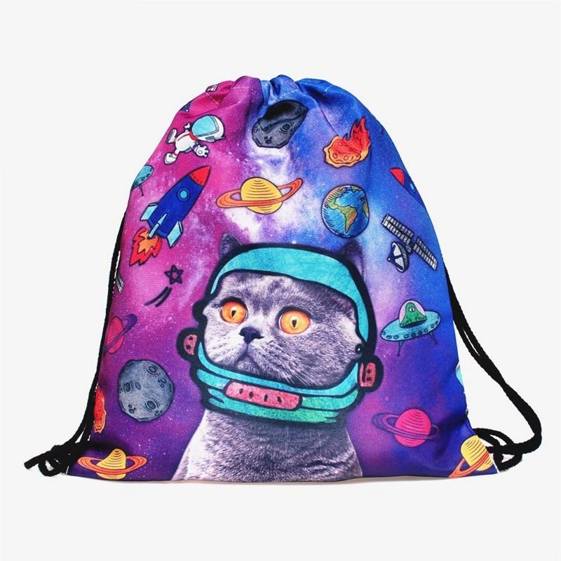 New Zohra Space Cats 3D printing Backpack Women drawstring bag mochila feminina Environmental Travel  sport Gym bags  backpacks