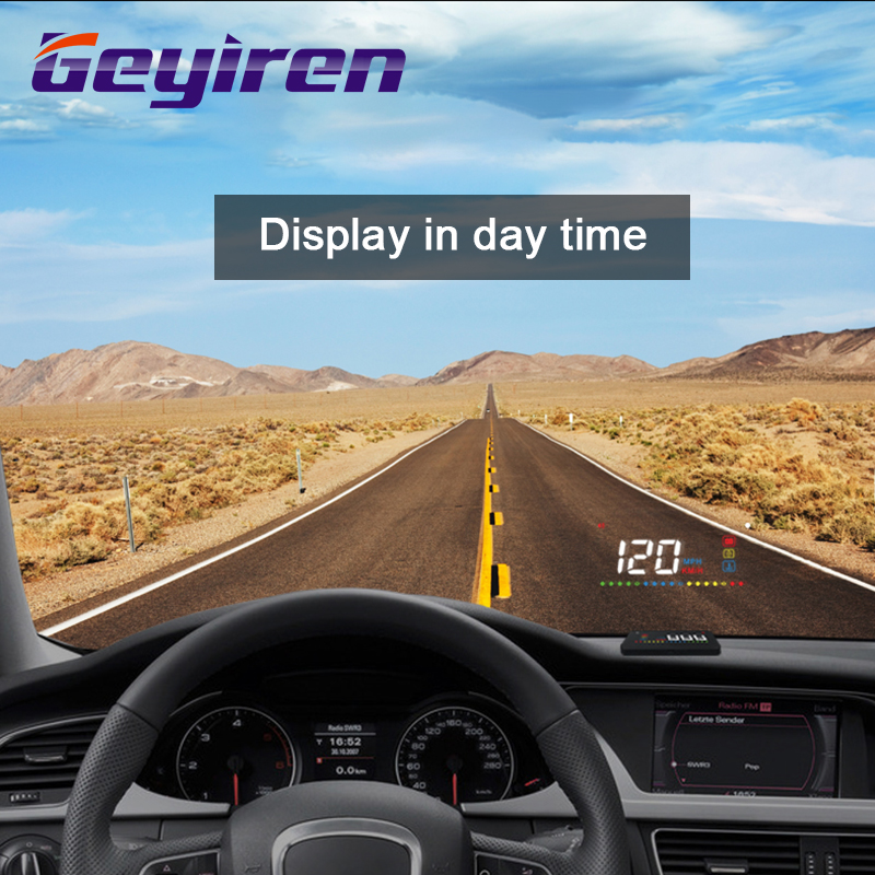 GEYIREN A200 HUD Head Up Display Obd2 Speedometer Temperature Water Projection On The Windshield For Car Hud Car Universal 2018