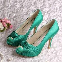 ( 20 цветов ) название весна высокие каблуки свадебные туфли зеленый SatinParty туфли на высоком каблуке с открытым носком