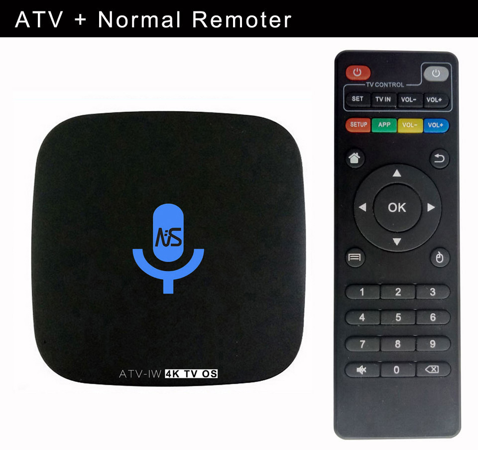 3pcs Custom Made ATV-IW S905W 4K Voice Control Smart Android TV OS box Streaming Box Support Google Play Youtube Netflix