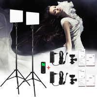 VILROX 2 uds VL-200T bicolor regulable inalámbrico remoto LED Video luz Panel de iluminación Kit + soporte de luz de 75 para sesión de estudio