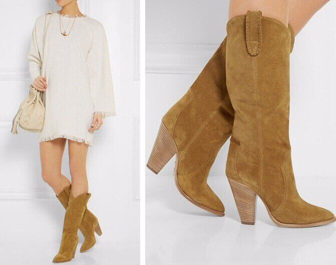 Winter New Fashion Booties Women Motorcycle Boots Suede Knee High Boots Spike Heels Boots Dress Botas Shoes Mujer Size 41 42
