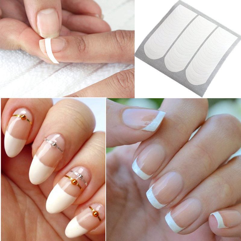 1 Sheet French Nail Manicure Nail Tip Guides Strip Nail Art Sticker Manicure Sticker nail clipper cuticle nipper cutter stainless steel pedicure manicure scissor nail tool for trim dead skin cuticle