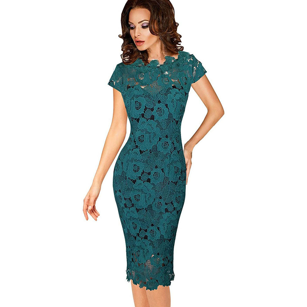 Oxiuly Elegant Women Crochet Flower Lace Hollow Out Pin Up Party Evening Special Occasion Sheath Fit Vestidos Green Dress Pencil