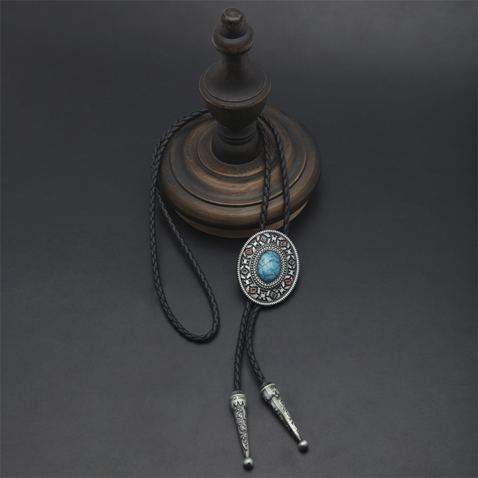 UWIN Southwest Totem Blue Gem Western Cowboy Bolo Tie Oval Metal Carved Shirt Neck Tie Leather Necklace Chain Adjustable