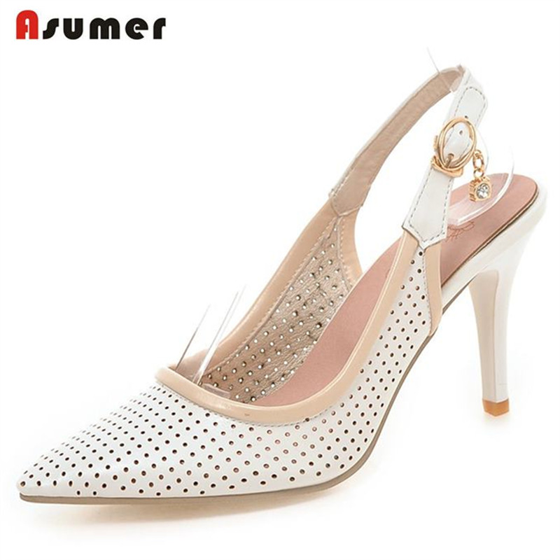ASUMER Big size 33-43 new fashion women pumps pointed toe slingbacks fashion party wedding shoes woman sweet ladies summer shoes vinlle 2017 sweet rome style women pumps party summer shoes pointed toe square low heel lace up wedding woman shoes size 34 43