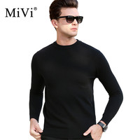 MIVI Brand Soft Cashmere Sweater Men Autumn Winter Knitted Pullover 100 Wool Slim Fit Knitwear Plus