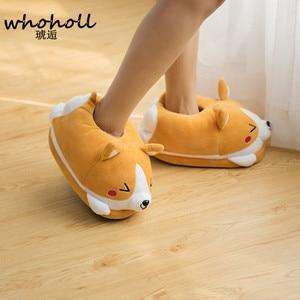 Image 2 - Homen Slippers Female Winter Plush Corgi Slippers Warm Women Floor Indoor Shoes Cute Funny Adult Slippers Flat Zapatillas Woman