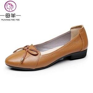 Image 3 - MUYANG MIE MIE kobiet buty 2019 prawdziwej skóry kobiet mieszkania moda kobiet w stylu casual, biurowy mieszkania baletowe Plus rozmiar 35 43 obuwie damskie
