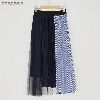 Elastic High Waist Skirt 2019 Fashion Spliced Pleated Skirts Womens Mesh Patchwork Striped Faldas Casual Saia Midi Skirt Vintage trendy women s elastic waist pu leather spliced skirt
