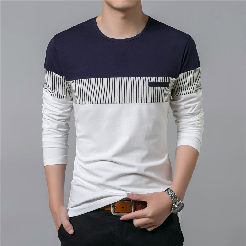 COODRONY T-Shirt Men 17 Spring Summer New Long Sleeve O-Neck T Shirt Men Brand Clothing Fashion Patchwork Cotton Tee Tops 7622 5