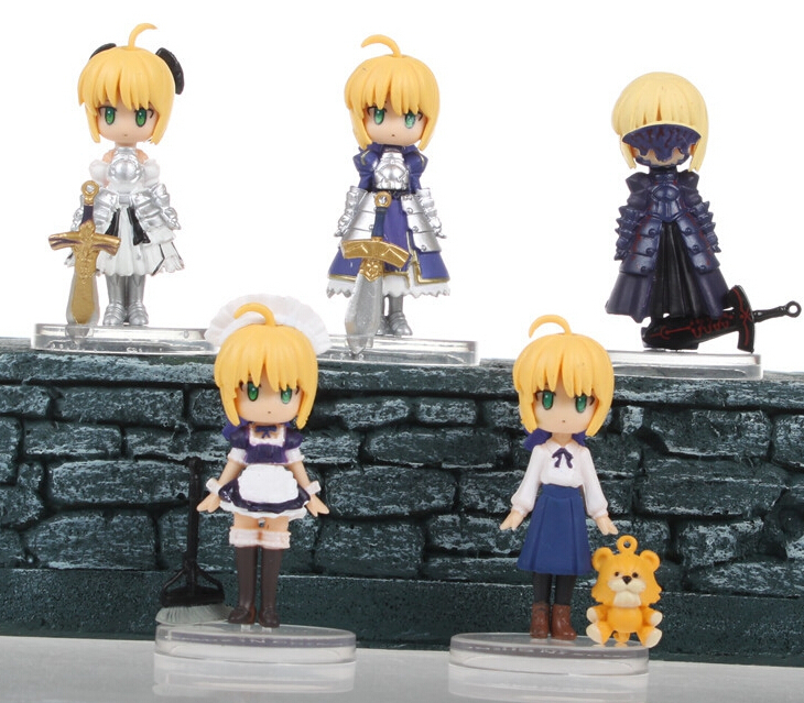 Super Cute Anime 5pcs/set Q Fate Stay Night Action Figures PVC brinquedos Collection Figures toys Kids Birthday christmas gift 23cm sexy fate stay night action figures pvc brinquedos collection figures toys for christmas gift free shipping
