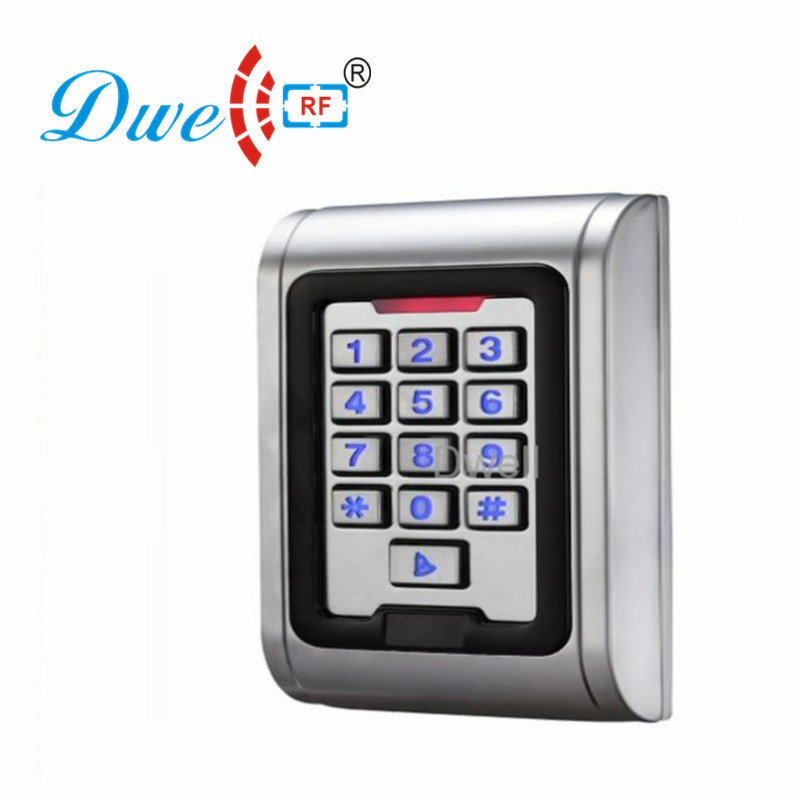 DWE CC RF RFID card reader 125khz emid or 13.56mhz mf wiegand 26 backlight keypad reader for access control system 002P waterproof touch keypad card reader for rfid access control system card reader with wg26 for home security f1688a