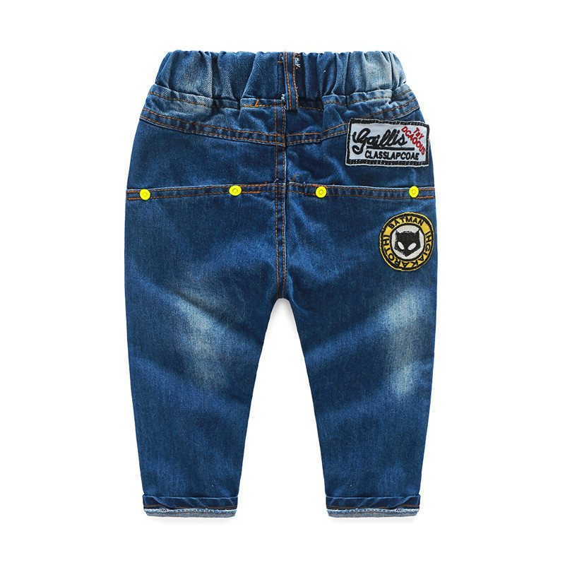 2016 SpringAutumn Wear White Jeans For Boys Cartoon Patchwork Boys Cowboy Pants Good Quality Solid Jeans For Kids 18M-5T CMB294 (2)