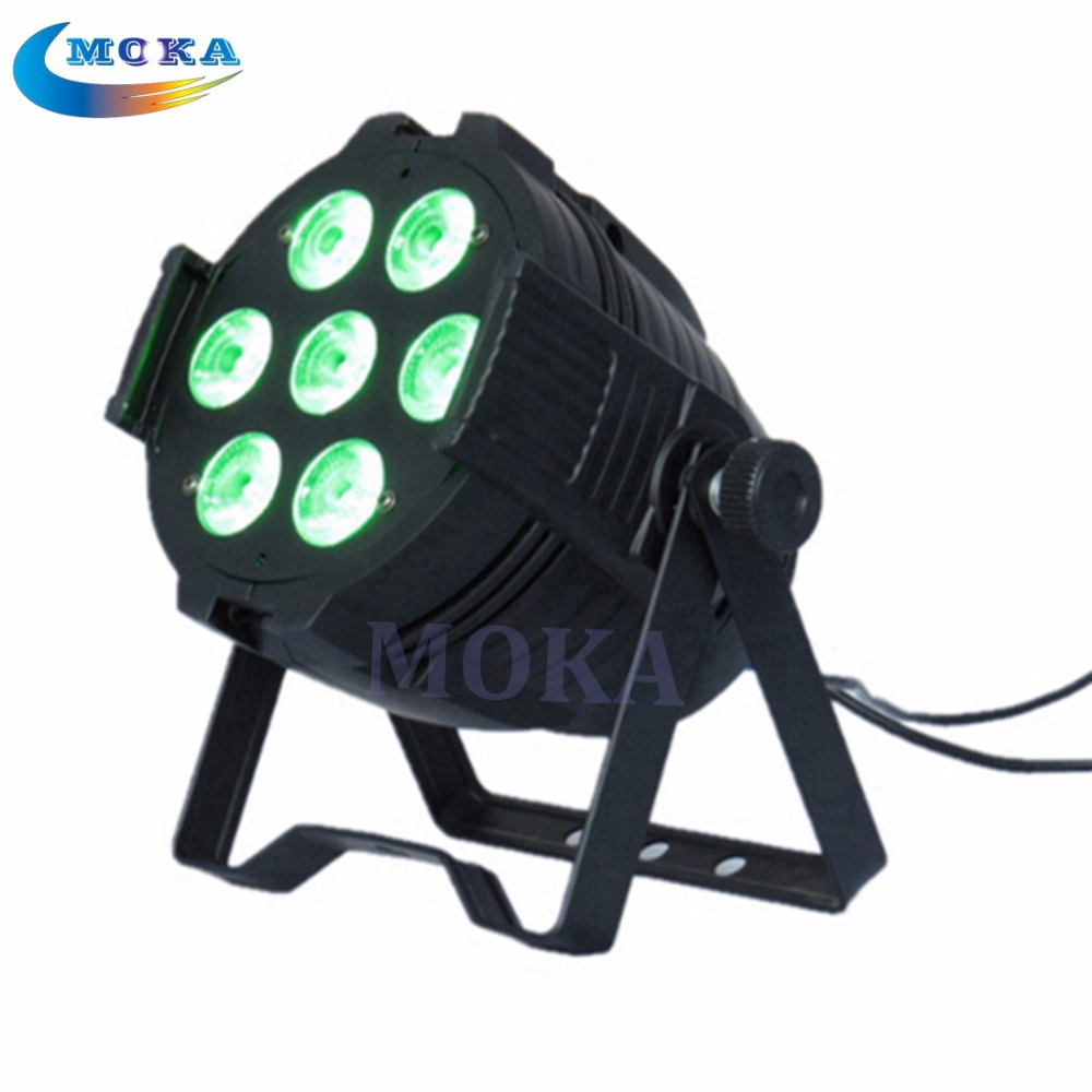 10Pcs/Lot 7*10W LED Par can light DMX Control 7Channel RGBW LED Flat Par Light for Club Bar DJ Stage Party 8x lot hot rasha quad 7 10w rgba rgbw 4in1 dmx512 led flat par light non wireless led par can for stage dj club party page 7