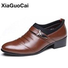 고급 영국 비즈니스 남성 드레스 신발 봄 가을 포인트 발가락 슬립 온 PU 가죽 신발 웨딩 플랫 X164