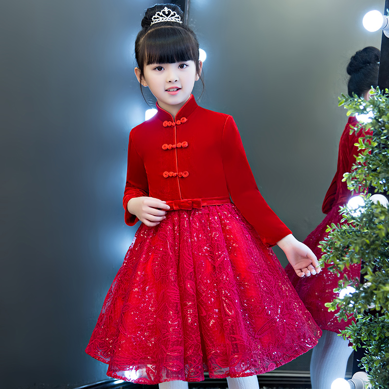 2017New Chinese Retro Standing Collar Children Girls New Year Red Color Dress Clothes Babies Kids Birthday Wedding Party Dress