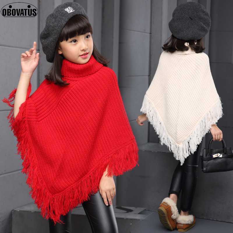 все цены на OBOVATUS 2017 Girls Sweater Cloak Princess Poncho Cape Accessories Girls Bridesmaid Wedding Dress Coat Wrap Solid Tassel Tops онлайн