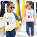 2016 autumn and winter hot new sweater girl children ages 4-11 Cute Bunny cotton Pullover stitching printing