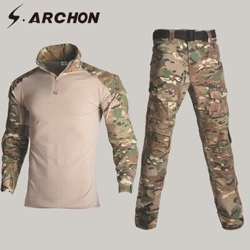 S.ARCHON Camouflage Military Tactical Uniform Set Men Camo SWAT Amry Combat Clothes Suit Flexible Cargo Pants Long Sleeve Shirt
