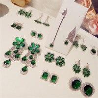 Emerald Drop Earrings For Women S925 Sterling Silver Tassels Flower Ear Studs Vintage Temperament Anti Allergy Fine Jewelry