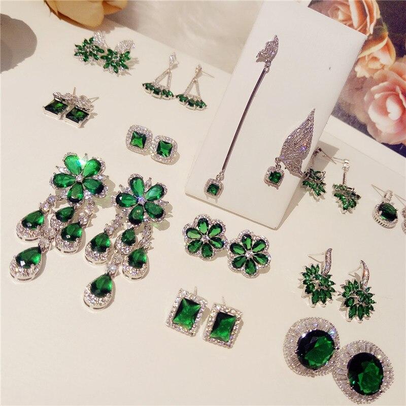 Emerald Drop Earrings For Women S925 Sterling Silver Tassels Flower Ear Studs Vintage Temperament Anti Allergy Fine Jewelry недорго, оригинальная цена