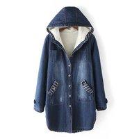 Autumn Winter Women S Korean Version Thickened Denim Cotton Long Section Big Size Plus Velvet Cotton