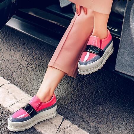 Block on Perle Plate forme Plate rose Femmes Eu42 Mocassins Rose Slip Décontractées Color Style Chaussures Noir Britannique Semelle 2IYE9beDHW